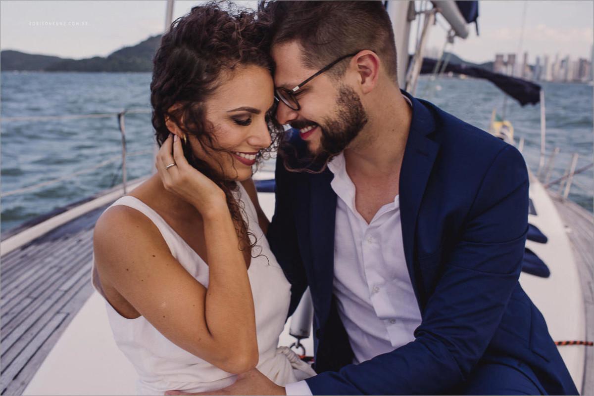 ensaio de noivos no veleiro