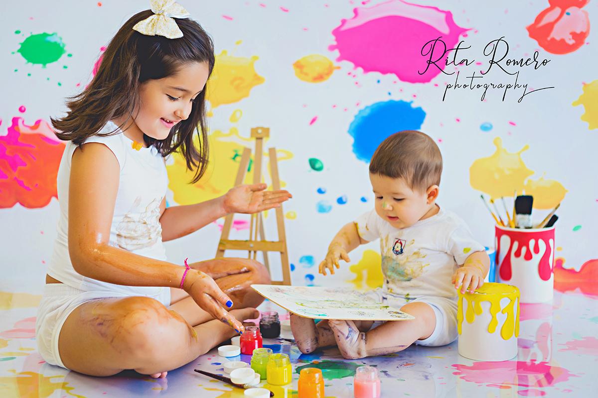 Imagem capa - Mini sessão - Brincando de tintas | Fernanda e Arthur por Rita Romero