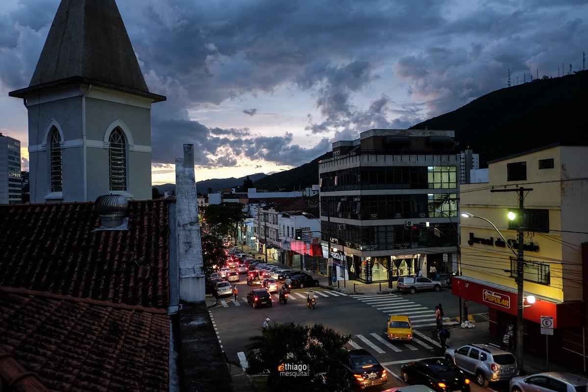 poços de caldas vista noturna centro da cidade