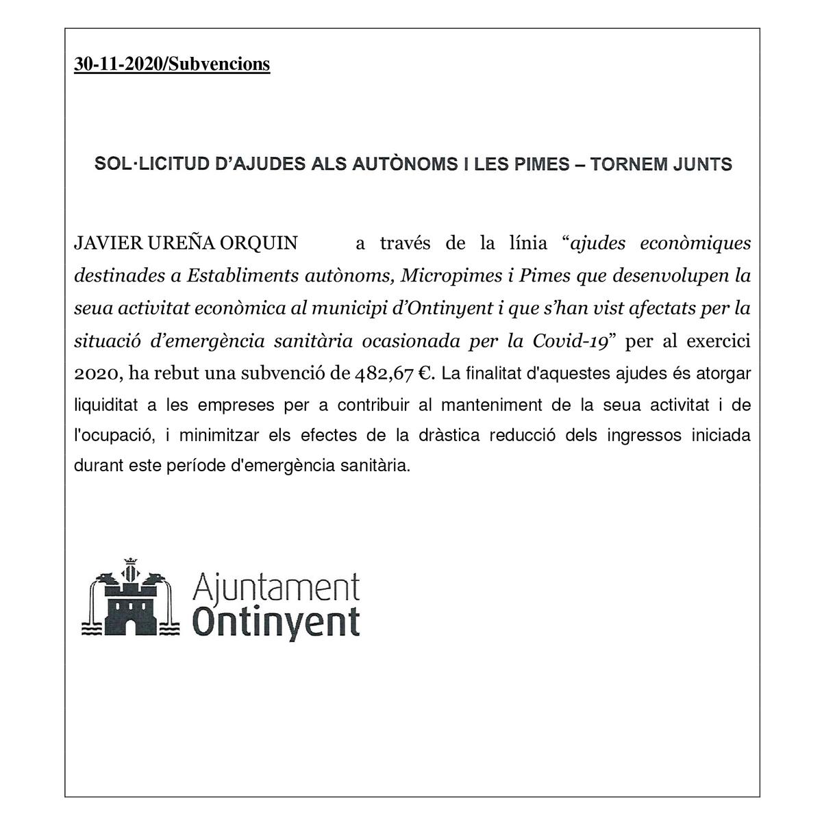 Imagem capa - Somos beneficiarios de las ayudas del Ajuntament d´Ontinyent por Javier