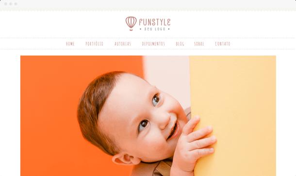 Nosso modelo FunStyle para fotografos divertidos. Site para fotógrafos com foco em festas e aniversários infantis.
